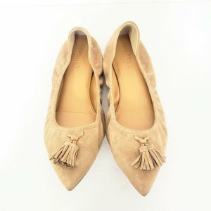 J Crew Tan Suede Pointed Toe Flats Size 8.5